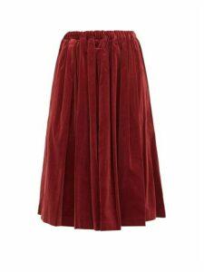 Comme Des Garçons Girl - Pleated Velvet Midi Skirt - Womens - Burgundy