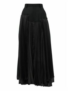Noir Kei Ninomiya - Pleated Satin And Wool-gabardine Midi Skirt - Womens - Black