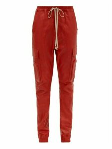Rick Owens - Drawstring Bonded Leather Trousers - Womens - Red