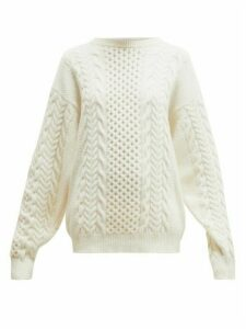 Ann Demeulemeester - Canber Cable Knitted Wool Sweater - Womens - Cream