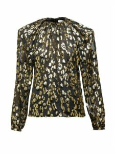 Saint Laurent - Padded-shoulder Leopard Fil Coupé Blouse - Womens - Black Gold