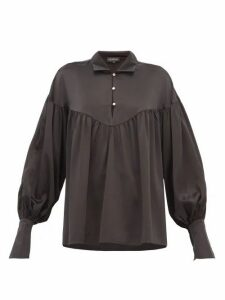 Lee Mathews - Mae Balloon-sleeve Silk-satin Blouse - Womens - Black