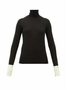 Rochas - Roll Neck Wool Blend Cuffed Sweater - Womens - Black White
