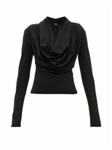 A.w.a.k.e. Mode - Rollercoaster Draped Neck Top - Womens - Black