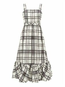 Aje - Sunset Checked-cotton Midi Dress - Womens - White Black