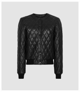 Reiss Ottolie - Cross Stitch Leather Bomber Jacket in Black, Womens, Size 14