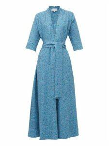 Luisa Beccaria - V-neck Floral-print A-line Dress - Womens - Blue Multi