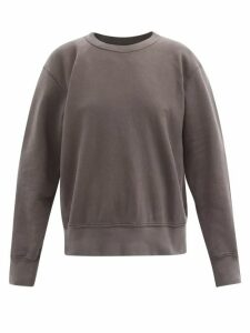 Les Tien - Loopback Cotton Sweatshirt - Womens - Dark Grey