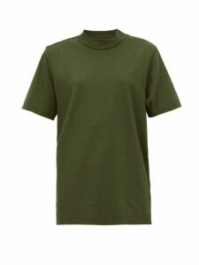 Les Tien - High Neck Cotton Jersey T Shirt - Womens - Khaki