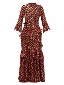 Saloni - Marissa Floral-print Fil-coupé Maxi Dress - Womens - Black Red