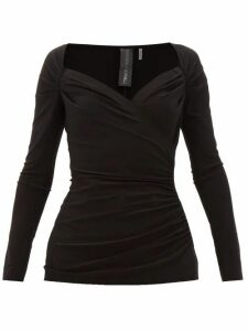 Norma Kamali - Queen Anne-neckline Gathered Stretch-jersey Top - Womens - Black