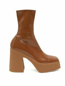 Stella Mccartney - Patent Faux Leather Platform Ankle Boots - Womens - Tan