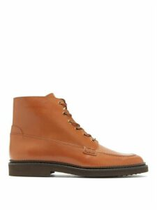 Tod's - Lace Up Leather Ankle Boots - Womens - Tan