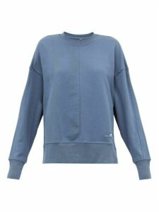Adidas By Stella Mccartney - Zip-vent Sleeves Cotton Sweatshirt - Womens - Blue