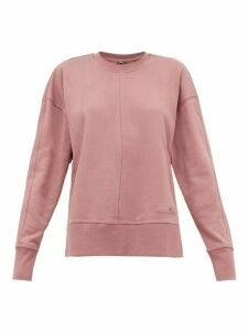 Adidas By Stella Mccartney - Zip-vent Sleeves Cotton Sweatshirt - Womens - Pink