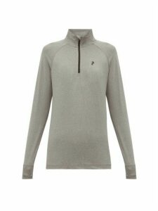 Peak Performance - Logo-print Zip-neck Long-sleeved T-shirt - Womens - Grey
