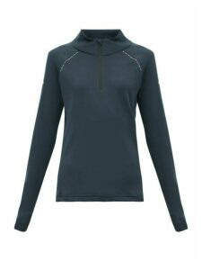 Capranea - Zipped Funnel Neck Fleece Back Sweater - Womens - Navy