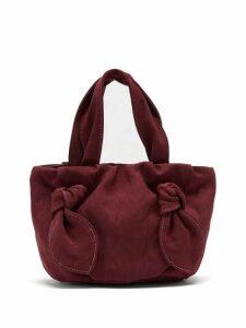 Staud - Ronnie Knot-handle Canvas Bag - Womens - Burgundy