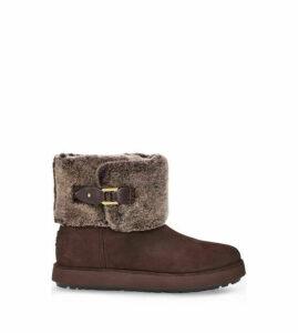 UGG Women's Classic Berge Mini Boot in Dark Roast, Size 6
