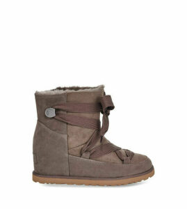 UGG Women's Classic Femme Lace-Up Boot in Slate Grey, Size 3