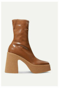 Stella McCartney - Vegetarian Patent-leather Platform Sock Boots - Tan