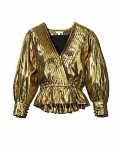 Joie Nadeen Metallic Faux-Wrap Top