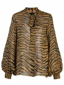 Nili Lotan tiger print bow tie blouse. - Brown
