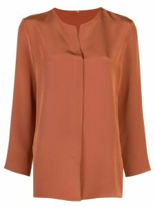 Peter Cohen collarless plain shirt - Brown
