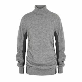 MM6 By Maison Margiela Grey Ruched Wool-blend Jumper
