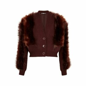 Stella McCartney Brown Faux Fur And Wool Cardigan