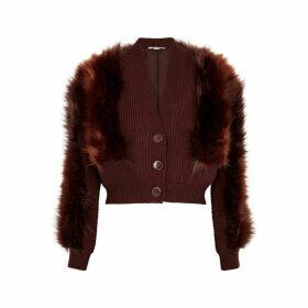Stella McCartney Brown Faux Fur And Wool Cardigan