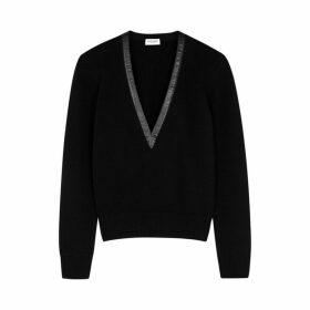 Saint Laurent Black Leather-trimmed Cashmere Jumper