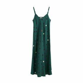 Chinti & Parker Green Painted Spot Silk Slip Dress