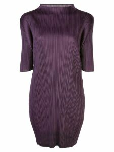 Pleats Please Issey Miyake pleated mock-neck top - Purple