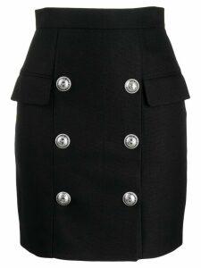 Balmain button detail high waisted skirt - Black