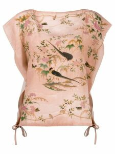 Red Valentino graphic print draped sleeves blouse - PINK