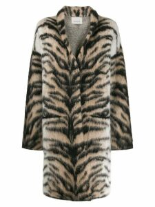 Laneus tiger-pattern single-breasted coat - Brown