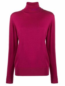 Gcds embroidered logo turtleneck jumper - PINK