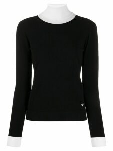 Emporio Armani ribbed neck top - Black