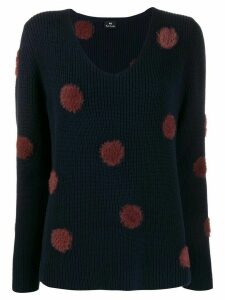PS Paul Smith textured polka-dot jumper - Blue