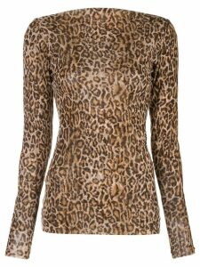 Peter Cohen leopard print fitted sweater - Brown