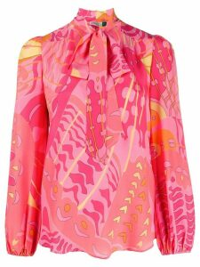 Rixo abstract-print silk blouse - Pink