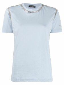 Frankie Morello rhinestone-trimmed crew-neck T-shirt - Blue
