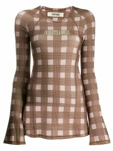 Charlotte Knowles check-print logo top - Brown