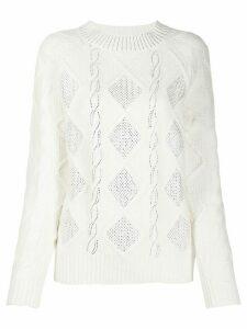 Ermanno Ermanno rhinestone detail jumper - White