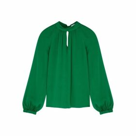 MILLY Emmie Green Stretch-silk Blouse