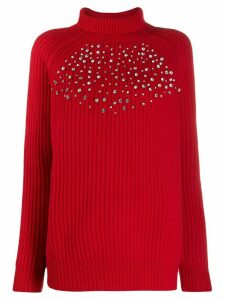 be blumarine crystal embellished jumper - Red