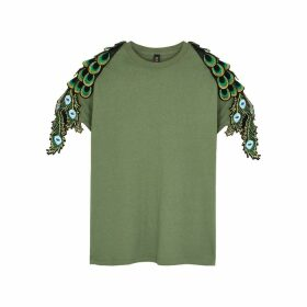 RAGYARD Peacock Feather-appliquéd Cotton T-shirt