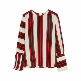 Tory Burch Striped Silk Crepe De Chine Blouse