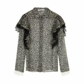 Philosophy Di Lorenzo Serafini Leopard-print Lace-trimmed Chiffon Blouse